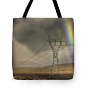 Rainbow Forms Over Powerlines Tote Bag