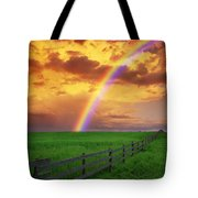 Rainbow In Country Field With Gold Tote Bag