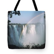 Rainbow In Front Of Victoria Falls Tote Bag