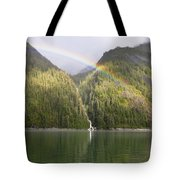 Rainbow Over Forest, Endicott Arm Tote Bag