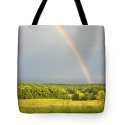 Rainbow Over Hay Field In Maine Tote Bag