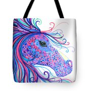 Rainbow Spotted Horse Tote Bag