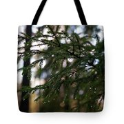 Raindrops On The Spruce Twig Tote Bag