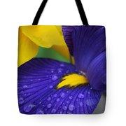 Raindrops Purple Dutch Iris Flower Tote Bag