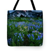 Rainier Wildflower Dawn Tote Bag by Mike  Dawson