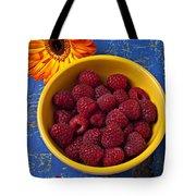 Raspberries In Yellow Bowl Tote Bag by Garry Gay