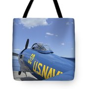 Rear View Of A F8f Bearcat Parked Tote Bag