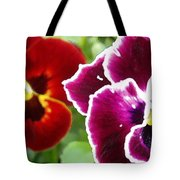 Red And Magenta Pansies Tote Bag
