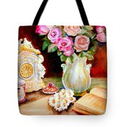 Red And Pink Roses And Daisies - The Doves Of Peace-angels And The Bible Tote Bag