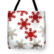 Red And Silver Snowflakes Tote Bag