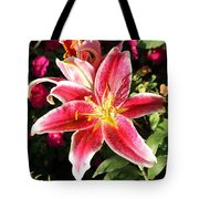 Red And White Tiger Lily Tote Bag