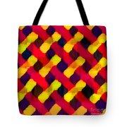 Red And Yellow Basketweave Bias Tote Bag