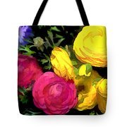 Red And Yellow Ranunculus Flowers Tote Bag
