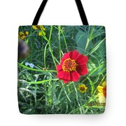 Red And Yellow Tiny Flowers Tote Bag