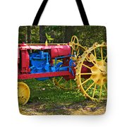 Red And Yellow Tractor Tote Bag