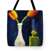 Red And Yellow Tulips In Vase Abstract Palette Knife Painting Tote Bag