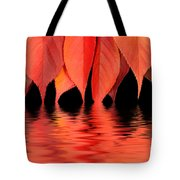 Red Autumn Leaves In Water Tote Bag