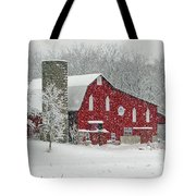 Red Barn In Heavy Snow Tote Bag