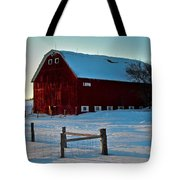 Red Barn In Winter ... Tote Bag
