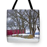Red Barn In Winter With Hay Bales Tote Bag