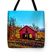 Red Barn On A Hillside Tote Bag