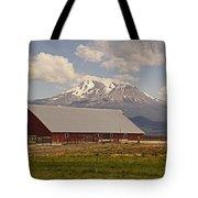 Red Barn Under Mount Shasta Tote Bag