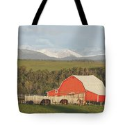 Red Barn With Horses Grazing Tote Bag by Michael Interisano