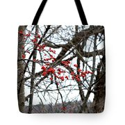 Red Berries White Sky Tote Bag