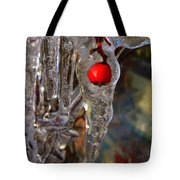 Red Berry In Icicle Tote Bag