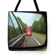 Red Big Truck Behind Tote Bag