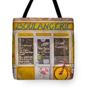 Red Bike At The Boulangerie Tote Bag