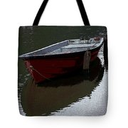 Red Boat In A Canal In The Netherlands Tote Bag