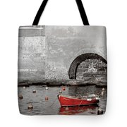 Red Boat In The Harbor At Vernazza Tote Bag