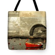 Red Boat In Vernazza Harbor On The Cinque Terre Tote Bag