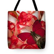 Red Butterfly On Blush Roses Tote Bag