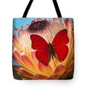 Red Butterfly On Protea Tote Bag