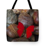 Red Butterfly On Rocks Tote Bag