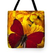 Red Butterfly On Yellow Gerbera Daisies  Tote Bag