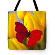 Red Butterful On Yellow Tulips Tote Bag