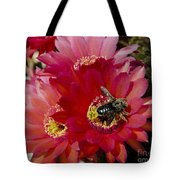 Red Cactus Flower With Bumble Bee Tote Bag