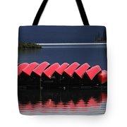 Red Canoes Maligne Lake Tote Bag