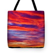 Red Clouds Dawn With Mount Rainier Tote Bag