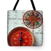 Red Compass And Rose Compass Tote Bag