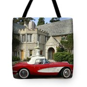 Red Corvette Outside The Playboy Mansion Tote Bag