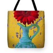 Red Daisy In Grape Vase Tote Bag