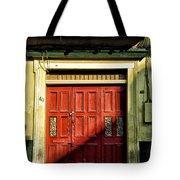 Red Door In Half Shadow Tote Bag