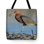 Red Egret With Fish Tote Bag