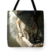 Red Eyed Demon Squirrel Tote Bag