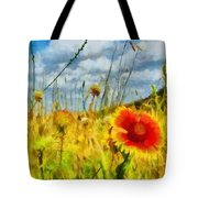 Red Flower In The Field Tote Bag