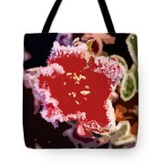 Red Flower With Frost Tote Bag